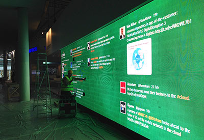 Large LED Screen Twitter Wall