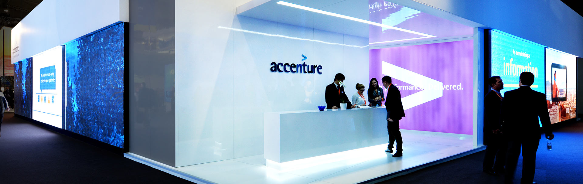 Large wall side exhibition set led screen for Accenture
